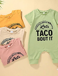 cheap -Baby Girls' Active Letter Print Short Sleeves Romper Yellow Blushing Pink Green