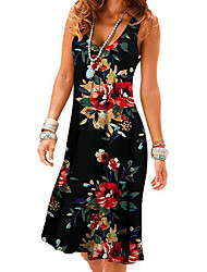 cheap -Women's A Line Dress Short Mini Dress Rose flower lily Element flower Can add colors Black Sleeveless Pattern Summer Casual 2021 S M L XL XXL