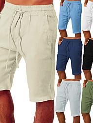 cheap -Men's Yoga Linen Pants Linen Shorts Drawstring Pocket Bottoms Bermuda Shorts Quick Dry Moisture Wicking Solid Color Light Blue Apricot High grade gray Yoga Fitness Gym Workout Summer Sports Activewear