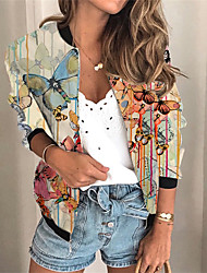 cheap -Women's Jacket Daily Spring &  Fall Regular Coat V Neck Regular Fit Sporty Casual Jacket Long Sleeve 3D Print Animal Patterned Print Blue Beige / Holiday