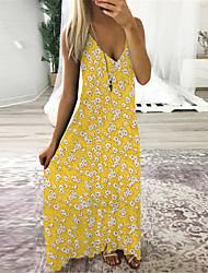 cheap -Women's A Line Dress Midi Dress Navy Yellow Black Sleeveless Floral Print Spring Summer Sweet Style 2021 S M L XL XXL XXXL 4XL 5XL / Chiffon