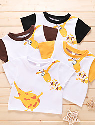 cheap -Baby Unisex Basic Animal Short Sleeve T shirt Tee Yellow Black Brown