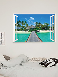 cheap -3D False Window Coconut Tree Beach Home Children's Room Background Decoration Can Be Removed Stickers