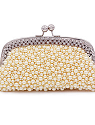 cheap -Women's Bags Polyester Alloy Evening Bag Pearls Crystals Pearl Crystal / Rhinestone Party Wedding Evening Bag Wedding Bags 2021 White Almond Champagne