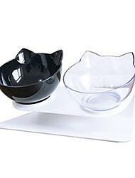cheap -Pet Comfort Feeding Bowls Pet Food Water Feeder 15° Tilted Dispenser-Dog Cat Double Bowl wi Raised and Tilted Platform