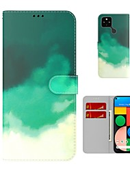 cheap -Watercolor Series Wallet Phone Case For Google Pixel 5 XL Google Pixel 5 Google Pixel 4a Magnetic Flip PU Leather Case with Card Holder Kickstand Full Body Protective Cover