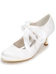 cheap -Women's Wedding Shoes Kitten Heel Round Toe Satin Ribbon Tie Solid Colored White Purple Red