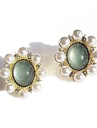 cheap -vintage french style exquisite green translucent earrings w inlaid pearls set in s925 starling silver posts stud earring for woman and girls. nickel free and cadmium free. (gift box)