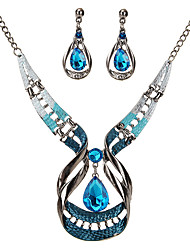 cheap -crystal jewelry set luxury  water drop gemstone necklace and earring set