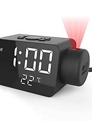 cheap -FM Radio Digital Alarm Clock FM Radio LED Display Ceiling Projector Clock 12/24H Temperature Detect Outlet powered for Bedroom Kids Heavy Sleepers Adult Seniors DC Powered