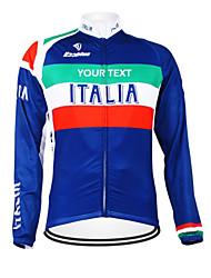 cheap -Customized Cycling Clothing Women's Men's Long Sleeve Cycling Jersey Italy National Flag Bike Jersey Thermal Warm Fleece Lining Waterproof Zipper Breathable Reflective Strips Winter Fleece