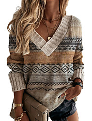 cheap -Women's Pullover Sweater Knitted Geometric Argyle Basic Casual Vintage Long Sleeve Loose Sweater Cardigans V Neck Fall Winter Brown / Holiday
