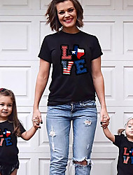 cheap -Tops Family Look Cotton American National Day Letter Daily Print Black Short Sleeve Active Matching Outfits
