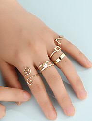 cheap -Ring Set Fashion ECG Geometry Ring Set Unlimited Symbol Joint Ring 5 Piece Set Combination Pack