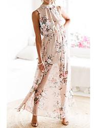 cheap -Women's A Line Dress Maxi long Dress Blushing Pink Sleeveless Pattern Summer Casual 2021 S M L XL / Cotton / Cotton