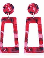 cheap -onlyjump acrylic dangles drop earrings for women girls exaggerated lightweight colorful bohemian rectangle circle geometric resin statement earrings (red)