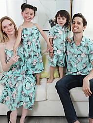 cheap -Family Look Light Green Daily Floral Print Sleeveless Maxi Family Sets