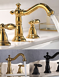 cheap -Bathroom Sink Faucet - Widespread Antique Brass / Nickel Brushed / Electroplated Widespread Two Handles Three HolesBath Taps