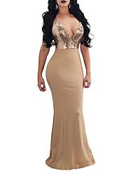 cheap -Sheath / Column Sexy bodycon Party Wear Formal Evening Dress Spaghetti Strap Sleeveless Floor Length Spandex with Sequin 2021