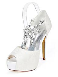 cheap -Women's Wedding Shoes Stiletto Heel Peep Toe Wedding Pumps Wedding Lace Rhinestone Solid Colored Light Purple Ivory White