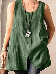 cheap -Women's Plus Size Tops T shirt Solid Color Sleeveless Round Neck Green Black Big Size L XL XXL XXXL