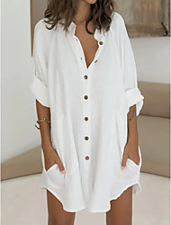 cheap -Women's Shirt Dress Short Mini Dress Green White Long Sleeve Solid Color Split Patchwork Spring Summer Shirt Collar Casual Loose 2021 M L XL 2XL 3XL / Cotton / Cotton