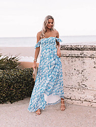 cheap -Women's Swing Dress Maxi long Dress The new model will ship on April 18 Blue Sleeveless Floral Print Spring Summer Off Shoulder Casual Boho 2021 S M L XL