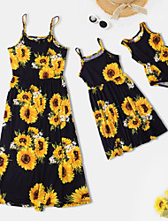 cheap -Mommy and Me Dresses Sunflower Print Black Sleeveless Knee-length Daily Matching Outfits