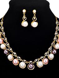 cheap -bridal jewelry set alloy 2-piece jewelry rhinestone pearl necklace earrings set