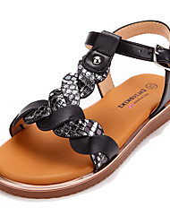 cheap -Girls' Sandals Bohemian Style Flat Roman Shoes PU Lace up Little Kids(4-7ys) Big Kids(7years +) Daily Beach Home Buckle Braided Strap Black Summer / TPR (Thermoplastic Rubber)