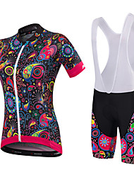 cheap -Malciklo Women's Short Sleeve Cycling Jersey with Bib Shorts Black Orange+White White Floral Botanical Plus Size Bike Clothing Suit Breathable 3D Pad Quick Dry Anatomic Design Sports Bamboo-carbon
