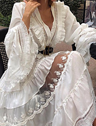 cheap -Women's A Line Dress Maxi long Dress White Long Sleeve Pattern Spring Casual 2021 Increase XXXL S M L XL XXL XXXL