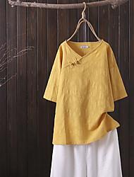 cheap -Women's Plus Size Tops Blouse Shirt Solid Color Half Sleeve V Neck Blue gray Yellow Blushing Pink Big Size XL 2XL 3XL 4XL