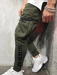 cheap -Men's Stylish Sporty Cargo Casual / Sporty Streetwear Breathable Soft Jogger Pants Cotton Daily Sports Pants Solid Color Full Length Drawstring Elastic Waist Multiple Pockets Gray Green Black
