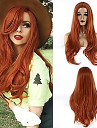 cheap -halloweencostumes towarm orange brown wig long wavy synthetic none lace front women middle part blonde machine made natural high temperature fiber hair cosplay daily wear wig