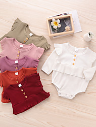 cheap -Baby Girls' Basic Solid Colored Ruffle Long Sleeve Romper White Red Blushing Pink