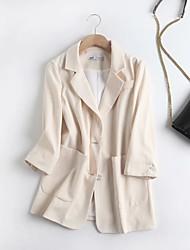 cheap -Women's Coat Daily Wear Spring Summer Long Coat V Neck Regular Fit Casual Daily Jacket Solid Color Pocket Black Beige