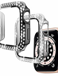 cheap -Smart watch Case 2 pack 44mm case compatible apple watch series 6/5/4/se built-in tempered glass screen protector full coverage hd clear protective film cover crystal diamond bumper