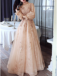 cheap -A-Line Glittering Elegant Engagement Formal Evening Dress High Neck Long Sleeve Floor Length Tulle with Sequin 2021
