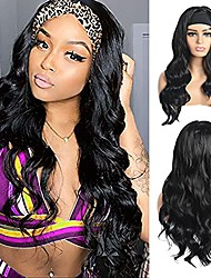 cheap -Beyond Beauty Long Body Wavy Headband Wig for Black Women, 24 Inch High Density Glueless Black Long Curly Synthetic Headband Wigs Natural Looking for Daily Party Wear(1B) No Colored Headband