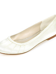 cheap -Women's Wedding Shoes Flat Heel Round Toe Satin Solid Colored White Purple Champagne