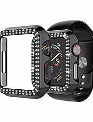 cheap -Smart watch Case  for apple watch 40mm series 6 5 4 se, double row crystal diamond bling hard shockproof anti scratch protective case plastic frame cover for iwatch series 6 5 4 se, black