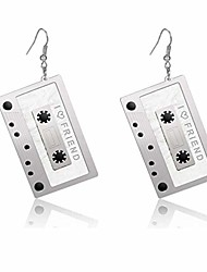 cheap -1980s fashion acrylic magnetic tape earrings for 80's party women girls punk retro cassette crush colorful drop dangle party night club pretty jewelry silver (silver)
