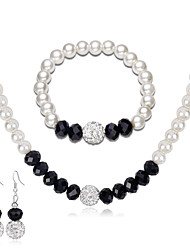 cheap -classic jewelry set simple fashion bead pearl jewelry silver plated necklace earring bracelet three-piece set