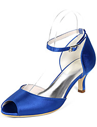cheap -Women's Wedding Shoes Kitten Heel Peep Toe Satin Rhinestone Solid Colored White Red Dark Purple
