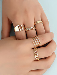 cheap -Fashion Ring set Ring Ins Net Red Cold Wind Niche Design Letter M Twist Geometric Ring 5pc Set