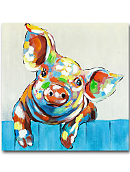 cheap -Nursery Oil Painting Handmade Hand Painted Wall Art Mintura Modern Abstract Piggy Animal Home Decoration Decor Rolled Canvas No Frame Unstretched