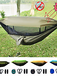 cheap -Camping Hammock with Pop Up Mosquito Net Double Hammock Outdoor Portable Sunscreen UV Resistant Anti-Mosquito Ultra Light (UL) Parachute Nylon with Carabiners and Tree Straps for 2 person Hunting