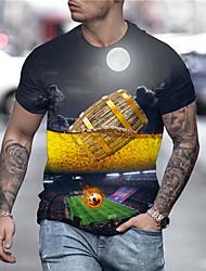 cheap -Men's Unisex Tee T shirt Shirt 3D Print Graphic Prints Beer Football Soccer Football player Print Short Sleeve Daily Tops Casual Designer Big and Tall Black / Gray / Summer