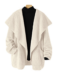 cheap -Women's Coat Daily Wear Fall Winter Long Coat V Neck Regular Fit Casual Daily Jacket Solid Color Pocket Beige / Spring